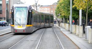 A  Luas tram at the St Stephens Green stop on the green line. Photograph: Aidan Crawley