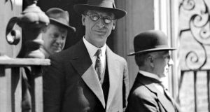 Éamon de Valera on the steps of 10 Downing Street, London in 1932. Photograph: PA