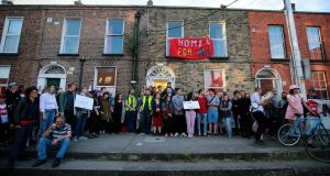 Activists who occupied a property on Summerhill Parade in Dublin have held several demonstrations outside the property, attended by large groups of supporters. Photograph: Nick Bradshaw