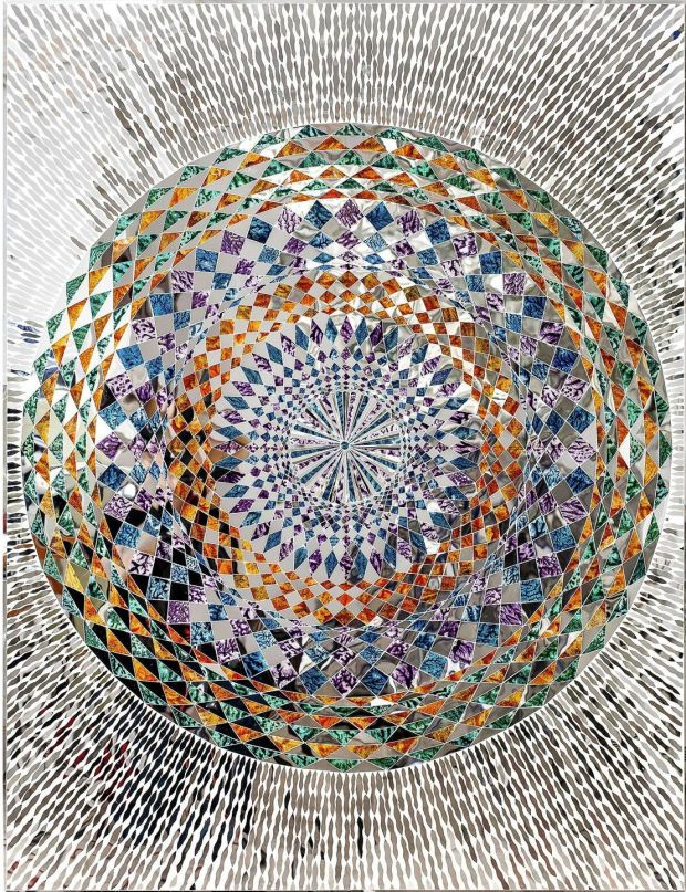 Monir Shahroudy Farmanfarmaian, Sunrise, 2015, Mirror and reverse-glass painting on plaster and wood, 130 x 100cm 110cm diameter. Private Collection, United Arab Emirates. Courtesy of the artist and The Third Line, Dubai.