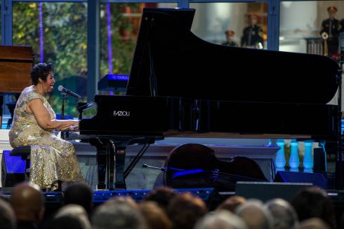 Aretha Franklin performs on International Jazz Day at the White House in Washington, DC, on April 29th, 2016. Photograph: Zach Gibson/The New York Times