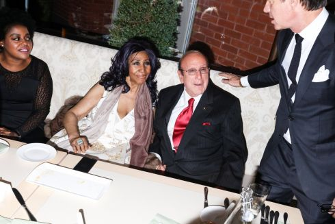 Aretha Franklin and Clive Davis at the after-party for the premiere of 'Clive Davis: The Soundtrack of Our Lives', in New York, April 19th, 2017. Photograph: Rebecca Smeyne/The New York Times