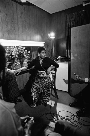 Aretha Franklin speaks to reporters in her dressing-room backstage at the Apollo Theatre in New York, June 3rd, 1971. Photograph: Tyrone Dukes/The New York Times