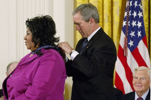 US president George W Bush presents the Presidential Medal of Freedom to Aretha Franklin at the White House in Washington, DC, on November 9th, 2005. Photograph: Mandel Ngan/AFP/Getty Images