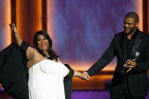 Actor Tyler Perry presents Aretha Franklin with the Vanguard Award at the 39th Annual NAACP Image Awards in Los Angeles, February 14th, 2008. Photograph: Mario Anzuoni/Reuters