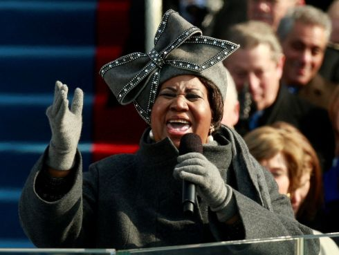 Aretha Franklin sings during the inauguration ceremony for president-elect Barack Obama in Washington, DC, January 20th, 2009. Photograph: Jason Reed/Reuters
