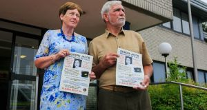 Deirdre Jacob's parents, Michael and Bernadette, at Naas Garda station, Co Kildare, during an appeal to the public marking the 20th anniversary of Deirdre's disappearance. Photograph: Gareth Chaney/Collins