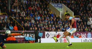 Jack Cork scores Burnley's extra-time winner against Istanbul Basaksehir at Turf Moor. Photograph:  Alex Livesey/Getty