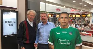 GAA commentator Mícheál Ó Muircheartaigh, Director at Metis Ireland Karl Daly and an overseas Limerick fan. Photograph: Karl Daly