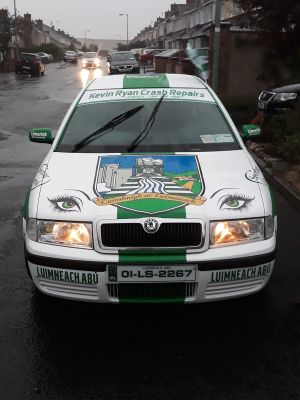 A Limerick-themed car designed from Kevin Ryan crash repairs. Photograph: Fergus Pearse