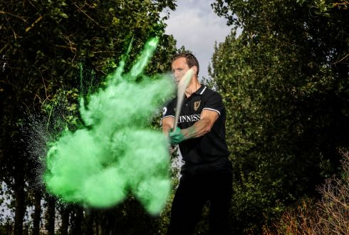 Hurling legend Ollie Moran (Limerick) pictured illustrating pride in his county colours at a media day ahead of this weekend's GAA Hurling All-Ireland Final. Photograph: Dan Sheridan/INPHO