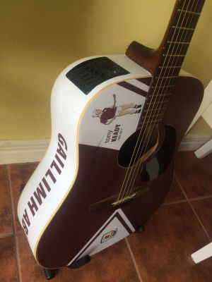 Musician Colin Fahy's All-Ireland-themed guitar supporting Galway. Photograph: Colin Fahy