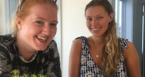 Emma Smith (left) and Adrienne Kelly working at Daunt's Albatross Motel, Montauk