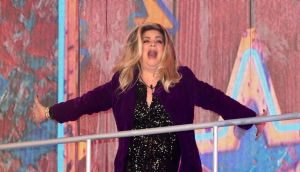 Kirstie Alley enters the house during the Celebrity Big Brother Launch Night at Elstree Studios, Hertfordshire. Photograph: Ian West/PA Wire