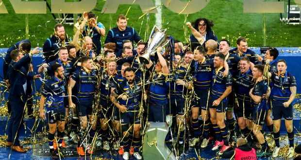 60035ff9d Leinster celebrate their Champions Cup final victory over Racing 92 in  Bilbao. Photograph: Ryan