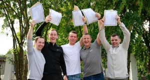 Adult learners get their results at Pearse College, Crumlin, August 2018: Gordon Elder, Liam Kieran, Lee Cummins, Michael Barry and Jonathan Lumsden. Photograph: Nick Bradshaw