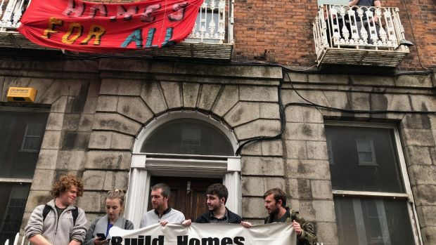 Protesters at 34 North Frederick Street, in the city centre. Photograph: Jack Power