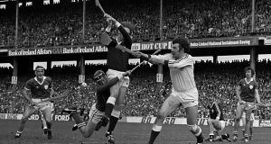 Galway goalkeeper Michael Connelly blocks the ball to keep the Limerick attack at bay during the 1980 All-Ireland hurling final at Croke Park. Photograph: Ray McManus/Sportsfile
