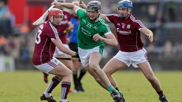 Limerick's Kyle Hayes in action against Galway's Conor Whelan and Johnny Coen. Limerick have big athletic players in their half back and half forward line capable of putting enormous pressure on Galway. Photograph: Laszlo Geczo/Inpho