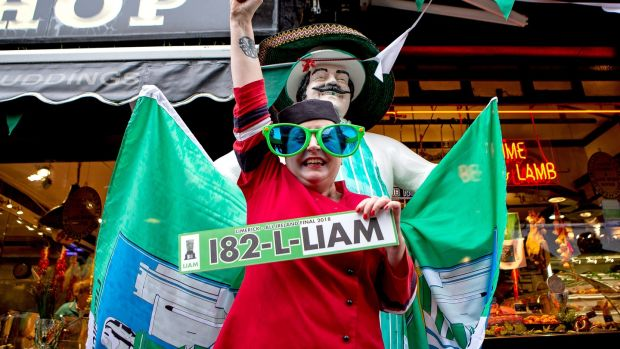 Up to the plate: Limerick supporter Kay McEnerney. Photograph: Laszlo Geczo/Inpho