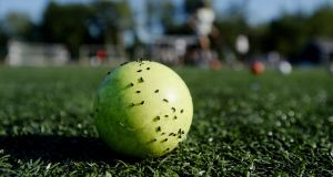 Crumb rubber from a synthetic  pitch sticks to a  hockey ball. Photograph:  Shawn Patrick Ouellette/Getty Images