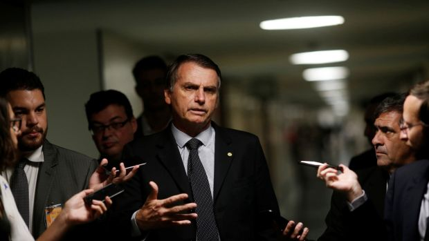 Far-right candidate Jair Bolsonaro. Photograph: Adriano Machado/Reuters