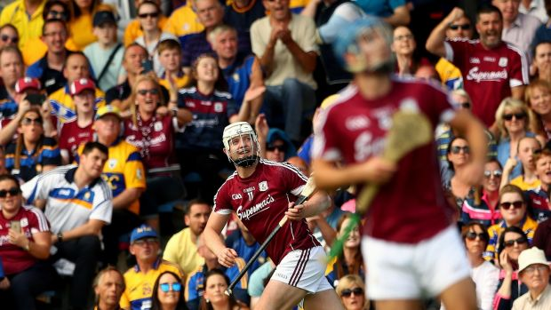 Joe Canning scores with a a crucial late sideline cut in the semi-final replay victory over Clare at Semple Stadium. Photograph: James Crombie/Inpho