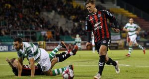 Bohemians' Eoghan Stokes scores the winning goal against Shamrock Rovers in the SSE Airtricity League Premier Division match at  Tallaght Stadium. Photograph: Tommy Dickson/Inpho