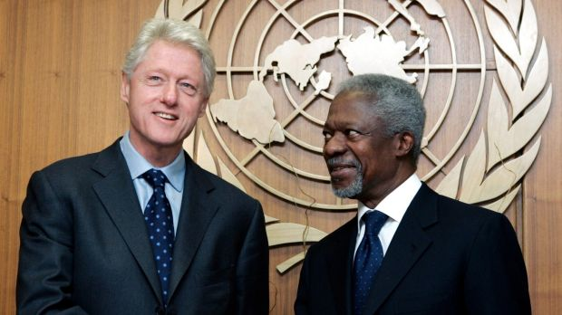 A file image from 2005 of the former US president Bill Clinton meeting the then UN secretary general Kofi Annan. Photograph: AP