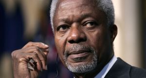 Former  UN secretary general Kofi Annan:  plaudits for his  softly spoken mediation are balanced by a number of ugly conflicts that spun out of control while he was UN chief. Photograph: EPA