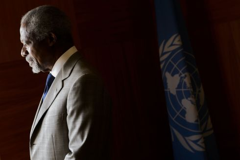 July 20th, 2012: UN-Arab League envoy Kofi Annan looks on before a meeting at his office at the United Nations Offices in Geneva. Photograph: AFP/Getty Images