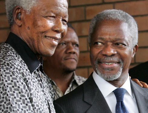 March 15th, 2006: Former South African President Nelson Mandela and United Nations Secretary-General Kofi Annan after their brief meeting at the Nelson Mandela Foundation in Johannesburg, South Africa. Photograph: Kim Ludbrook/EPA.