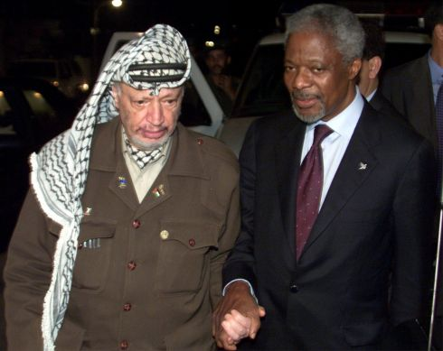 October 10th, 2000: Palestinian President Yasser Arafat walks with UN Secretary General Kofi Annan's after they concluded talks in Gaza early . Photograph: Ahmed Jadallah/Reuters