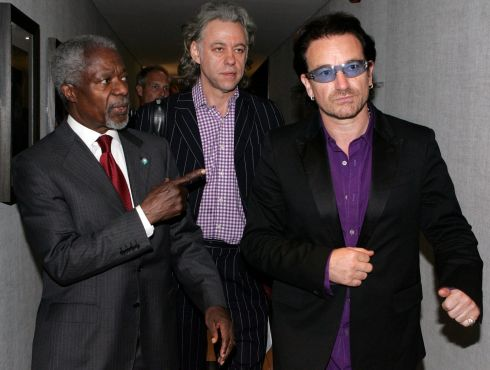 July 8th, 2005:United Nations Secretary General Kofi Annan arrives with 'Make Poverty History' organiser Bob Geldof and U2 lead singer Bono for a session of the G8 summit in Gleneagles, Scotland. Photograph: Alistair Grant/Pool