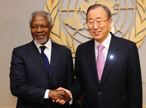 March 1st, 2012: UN Secretary General Ban Ki-Moon  meets with UN-Arab League Joint Special Envoy for Syria Kofi Annan at the United Nations headquarters in New York. Photograph: Emmanuel Dunand/AFP/Getty Images