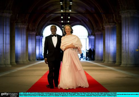 April 29th, 2013: Former Secretary-General of the United Nations Kofi Annan and his wife Maria Annan arrive to attend a dinner hosted by Queen Beatrix of The Netherlands ahead of her abdication at Rijksmuseum. Photograph: Robin Utrecht/Pool/Getty Images.