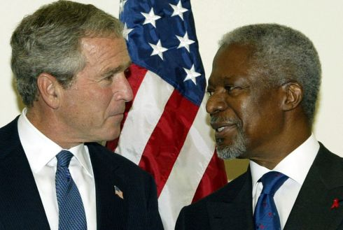 September 23rd, 2003: UN Secretary General Kofi Annan greets US President Bush at UN headquarters before the start of the 58th UN General Assembly. Photograph: Scott Applewhite/AP.