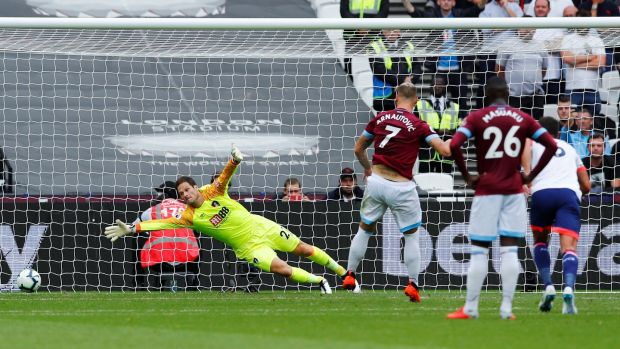Marko Arnautovic gives West Ham the lead from the penalty spot. Photograph: Eddie Keogh/Reuters