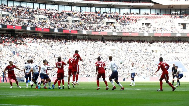 Kieran Trippier restores Tottenham's lead against Fulham with a stunning free-kick. Photograph: Julian Finney/Getty