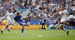 Summer signing James Maddison scores Leicester's second against Wolves. Photograph: Craig Brough/Reuters