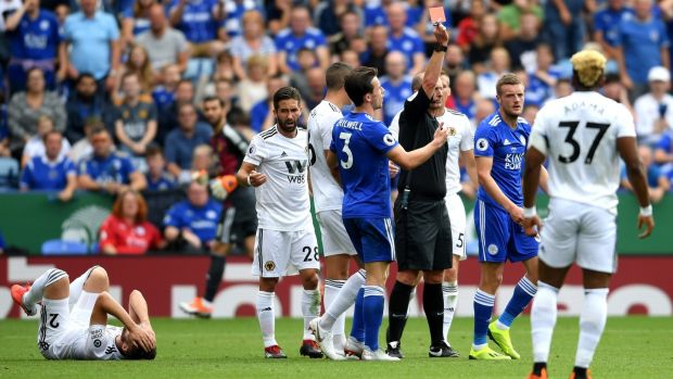Jamie Vardy is shown a straight red during Leicester's win over Wolves. Photograph: Ross Kinnaird/Getty