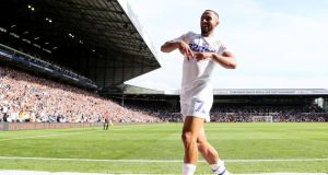 Leeds United's Kemar Roofe celebrates scoring his side's second goal of the game during the Sky Bet Championship match against Rotherham at Elland Road. Photograph: Richard Sellers/PA Wire