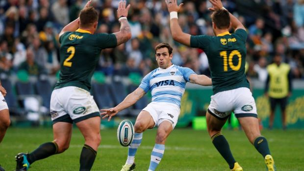 Argentina outhalf Nicolas Sanchez kicks under pressure from South Africa's Malcolm Marx and Handre Pollard during the Rugby Championship game at Kings Park Stadium in Durban. Photograph: Rogan Ward/Reuters