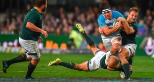 Argentina flanker Pablo Matera  is tackled by South Africa's Andre Esterhuizen and  Willie  le Roux  during the Rugby Championship game at Kings Park Stadium in Durban. Photograph: Christiaan Kotze/AFP