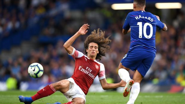 Chelsea's Eden Hazard is challenged by Matteo Guendouzi of Arsenal during the Premier League game at Stamford Bridge. Photograph: Mike Hewitt/Getty Images