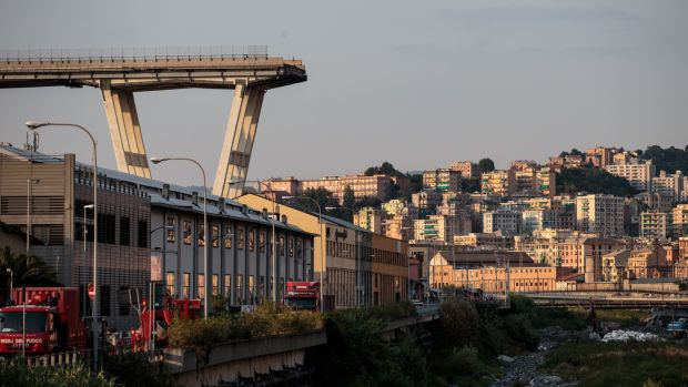 Remains of the beleagured Morandi Bridge following the collapse earlier this week. Photograph: Getty Images