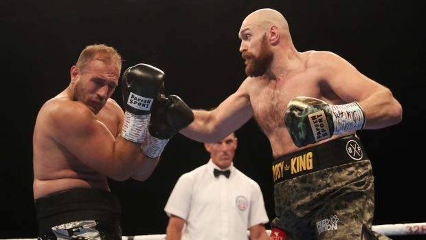 Tyson Fury in action against Francesco Pianeta during the heavyweight fight at Windsor Park in Belfast. Photograph: William Cherry/Inpho
