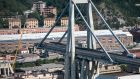 A stretch of the Morandi Bridge is seen days after a section of it collapsed on August 19th, 2018 in Genoa, Italy. Photograph: Jack Taylor/Getty Images.