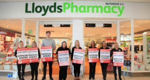Lloyds Pharmacy workers at a previous picket at the chain's Nutgrove branch in Dublin. Photograph: Garrett White
