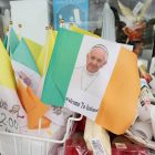 Flags on sale in Knock, Co Mayo, ahead of Pope Francis's visit. Photograph: Niall Carson/PA